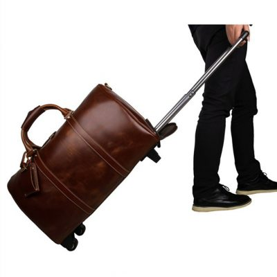 Noble Leather Trolley Travel Bag