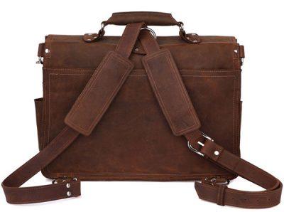 Rugged Leather Messenger Bag-Back