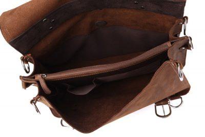 Rugged Leather Messenger Bag-Inside