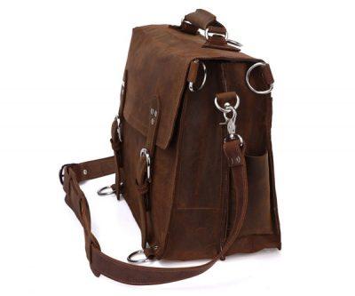 Rugged Leather Messenger Bag-Side