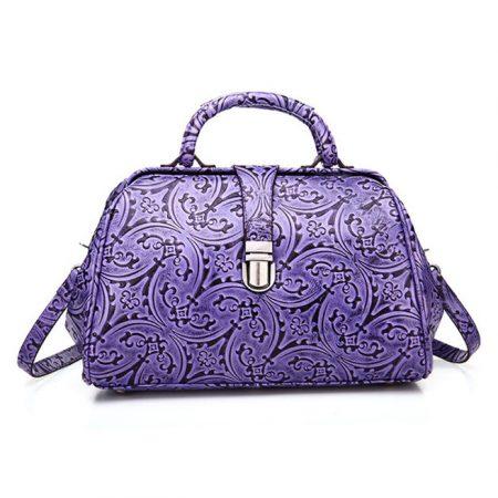 Purple Embossed Leather Handbag