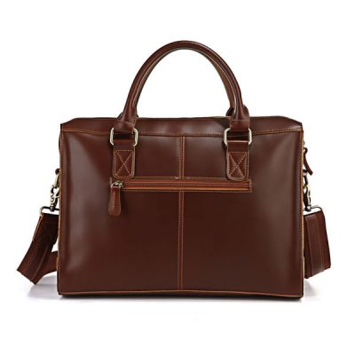 Unisex Classic Leather Briefcase-Back