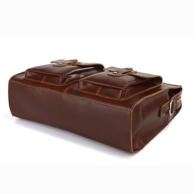 Unisex Classic Leather Briefcase-Bottom