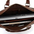 Unisex Classic Leather Briefcase-Inside