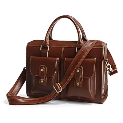 Unisex Classic Leather Briefcase-Side