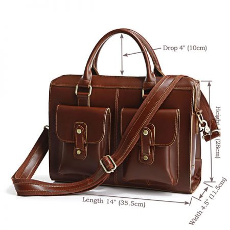 Unisex Classic Leather Briefcase-Size