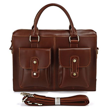 Unisex classic leather briefcase