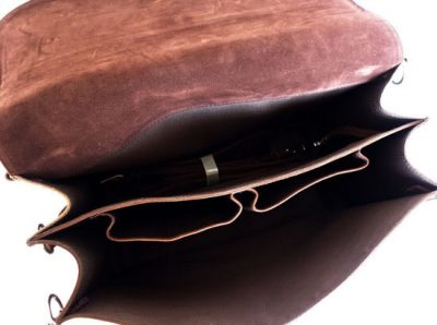 Vintage Leather Messenger Bag-Inside
