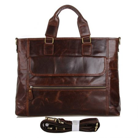 Vintage Leather Crossbody Laptop Bag