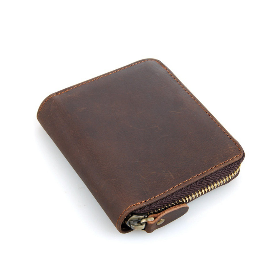 Zipper Around Leather Wallet Leather Coin Pocket