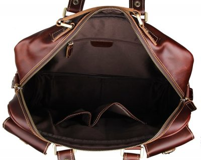 Casual leather briefcases messenger bag-inside