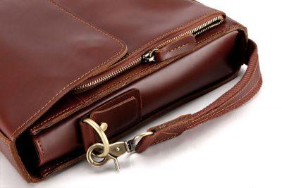 excellent leather messenger bag-details