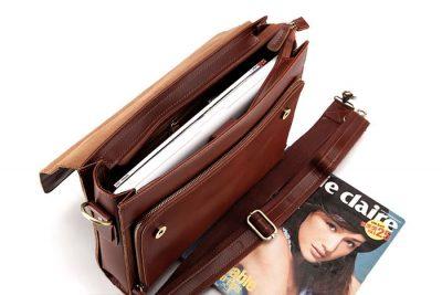 excellent leather messenger bag-inside