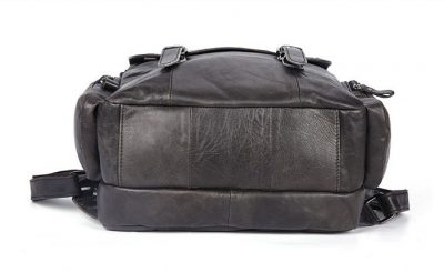 Black Casual Leather Backpack-Bottom