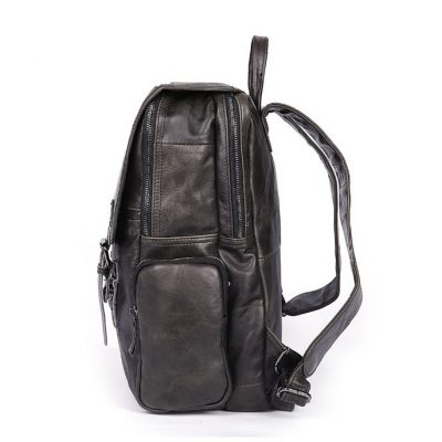 Black Casual Leather Backpack-Side