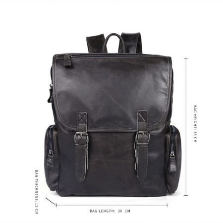 Black Casual Leather Backpack-Size