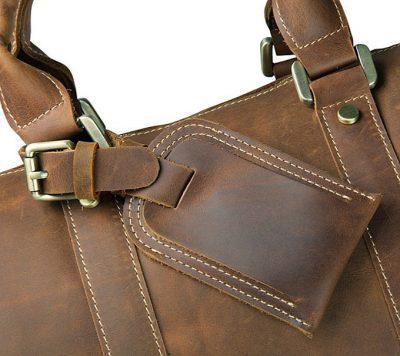 Brown Leather Duffle Bag weekend Bag-Details