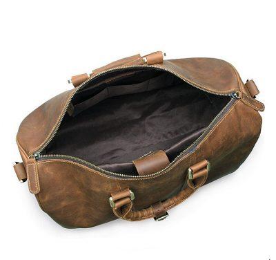 Brown Leather Duffle Bag weekend Bag-Inside