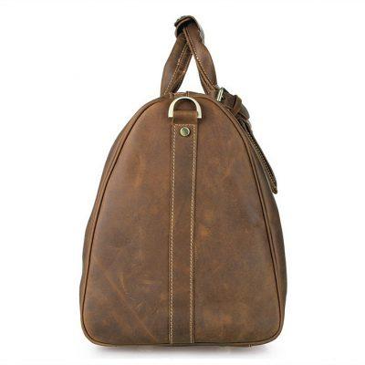 Brown Leather Duffle Bag weekend Bag-Side