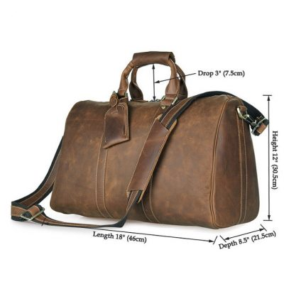 Brown Leather Duffle Bag weekend Bag-Size