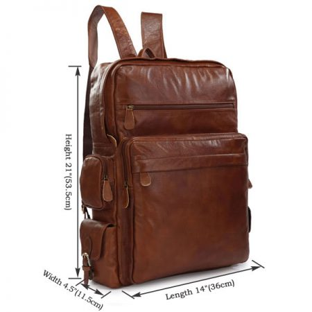 Casual Leather Travel Backpack-Size