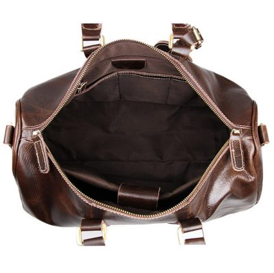 Classic Leather Duffle Bag-Inside