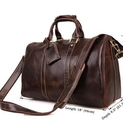 Classic Leather Duffle Bag-Size