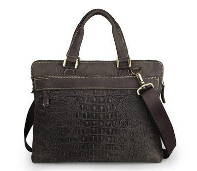 Crocodile Embossed Laptop Bag-Back
