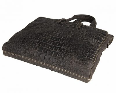 Crocodile Embossed Laptop Bag-Side