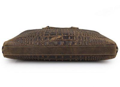 Crocodile Embossed Leather Bag-Bottom