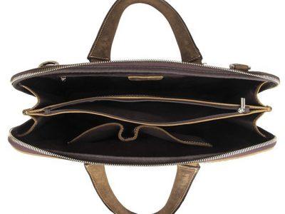 Crocodile Embossed Leather Bag-Inside