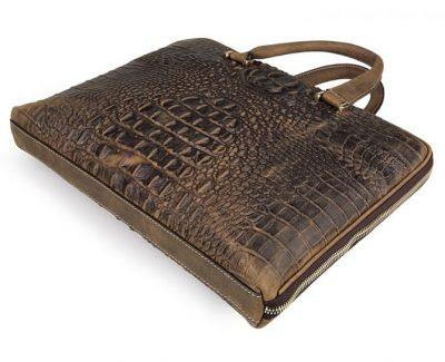 Crocodile Embossed Leather Bag-Side