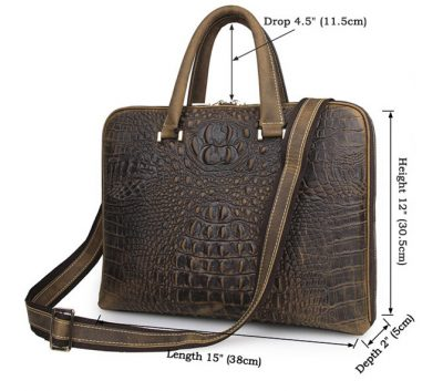 Crocodile Embossed Leather Bag-Size