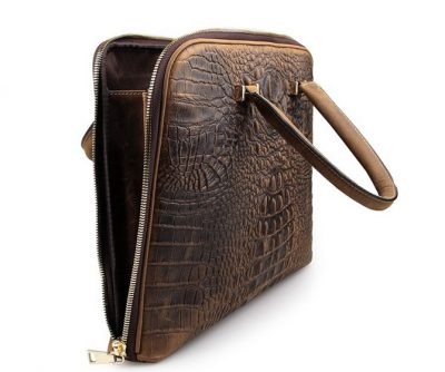 Crocodile Embossed Leather Bag-left Side