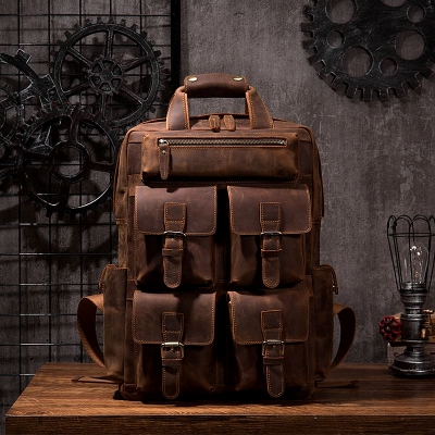 Fashion Outdoor Leather Backpack-Brown