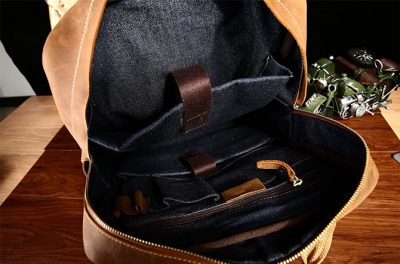 Fashion outdoor Leather Backpack-Inside