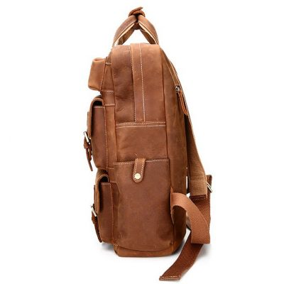 Fashion outdoor Leather Backpack-Side