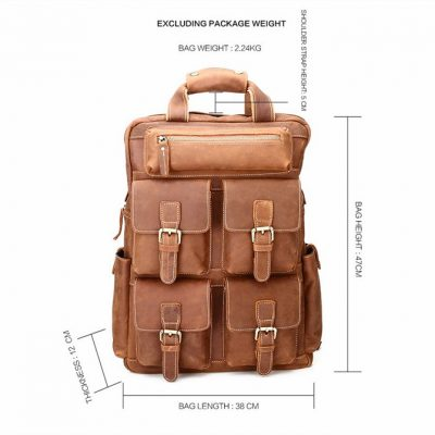 Fashion outdoor Leather Backpack-Size