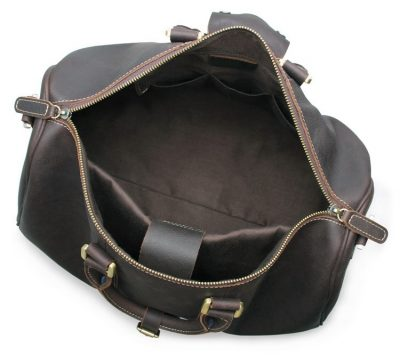 Leather Duffle Bag Weekend Bag-Inside