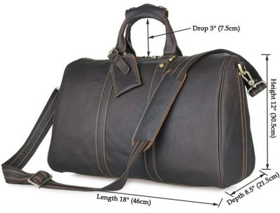 Leather Duffle Bag Weekend Bag-Size