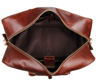 Leather Travel Duffle Bag Luggage Bag-Inside