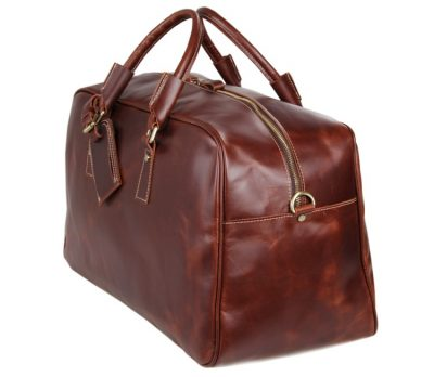 Leather Travel Duffle Bag Luggage Bag-Side