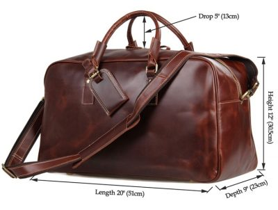 Leather Travel Duffle Bag Luggage Bag-Size