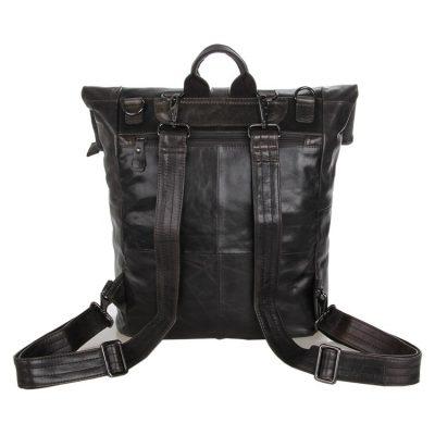 Men's Leather Roll Top Backpack-Back