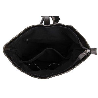 Men's Leather Roll Top Backpack-Inside