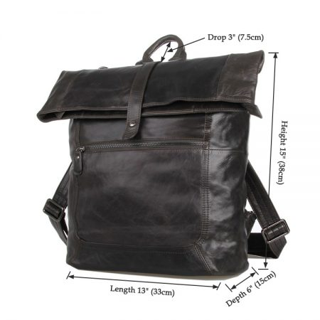 Men's Leather Roll Top Backpack-Size
