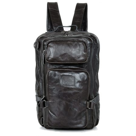 Men's Outdoor Camping Leather Backpack Travel Bag