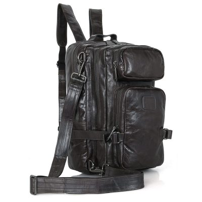 Men's Outdoor Camping Leather Backpack Travel Bag-Side