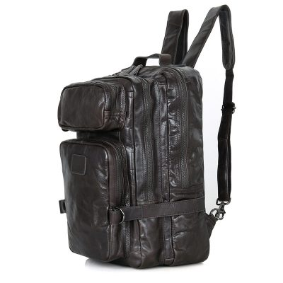 Men's Outdoor Camping Leather Backpack Travel Bag-left