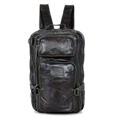 Men's Outdoor Camping Leather Backpack Travel Bags